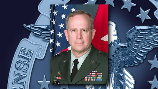 Army Maj. Gen. Michael Lally with DLA Hall of Fame background graphic.