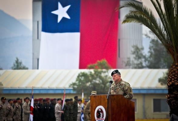 U.S Army Col. Brian Greata gives a speech.