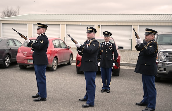 Wyoming Army National Guard Military Funeral Honors team members conduct a 21-gun salute for Technician 5 Joseph Mulvaney, who received long-overdue honors March 29, 2019 at a memorial service in Cody, Wyoming.