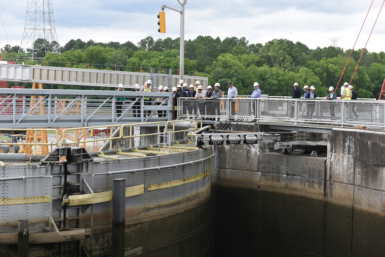 Members of the Lower Mekong Initiative, an international team from Cambodia, Laos, Myanmar, Thailand and Vietnam, and U.S. officials visit Chickamauga Lock on the Tennessee River in Chattanooga, Tenn., June 12, 2019. They toured the Tennessee Valley Authority project where the U.S. Army Corps of Engineers Nashville District operates and maintains the lock at the invitation of the United States in support of water development in the Lower Mekong River Basin. (USACE photo by Lee Roberts)