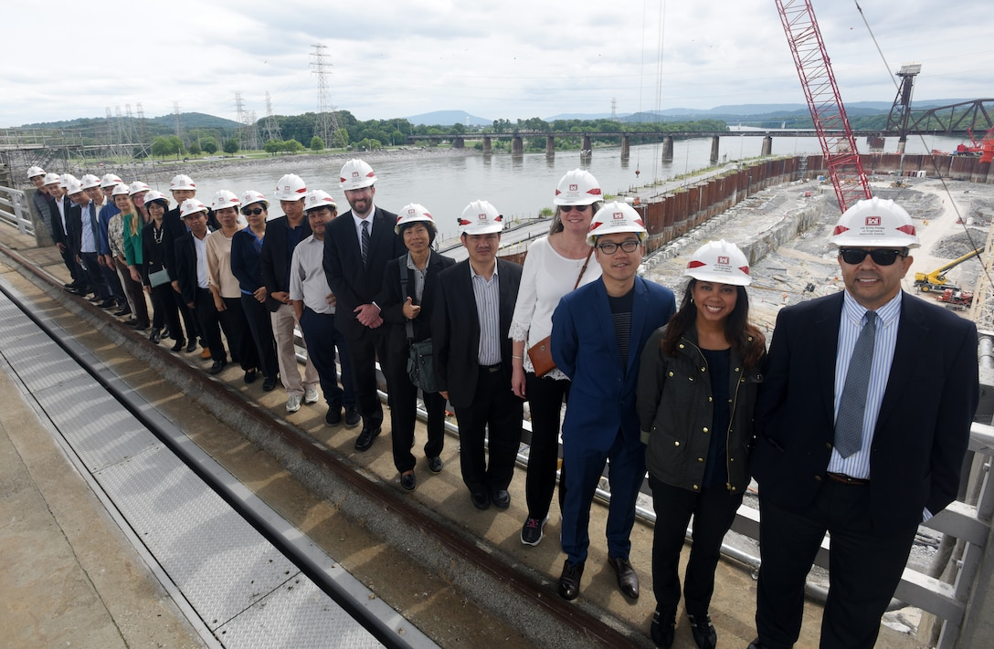 Members of the Lower Mekong Initiative, an international team from Cambodia, Laos, Myanmar, Thailand and Vietnam, and U.S. officials pose together at the Chickamauga Lock Replacement Project June 12, 2019 on the Tennessee River in Chattanooga, Tenn. The U.S. Army Corps of Engineers Nashville District is constructing a new navigation lock at the Tennessee Valley Authority project. (USACE photo by Lee Roberts)