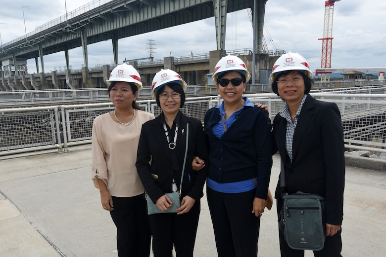 Members of the Lower Mekong Initiative pose together at Chickamauga Lock June 12, 2019 on the Tennessee River in Chattanooga, Tenn. They toured the Tennessee Valley Authority project where the U.S. Army Corps of Engineers Nashville District operates and maintains the lock at the invitation of the United States in support of water development in the Lower Mekong River Basin. (USACE photo by Lee Roberts)