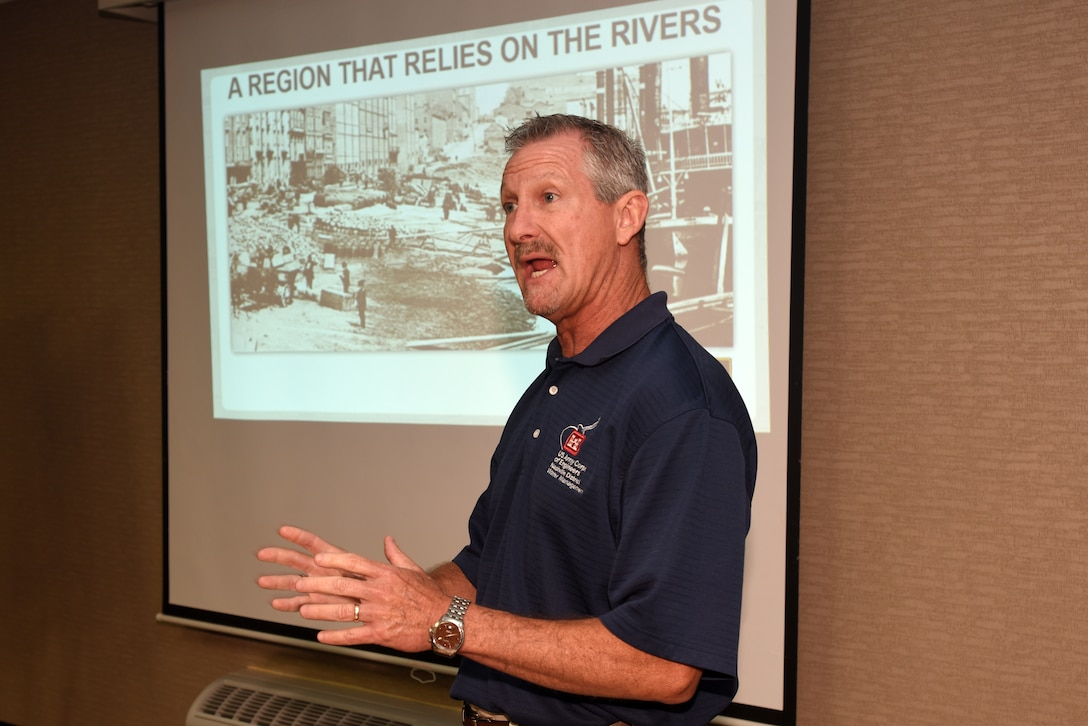 Randy Kerr, U.S. Army Corps of Engineers Nashville District Water Management Section hydraulic engineer, provides a detailed overview of the Cumberland River System to members of the Lower Mekong Initiative in Nashville, Tenn., June 13, 2019. (USACE photo by Lee Roberts)