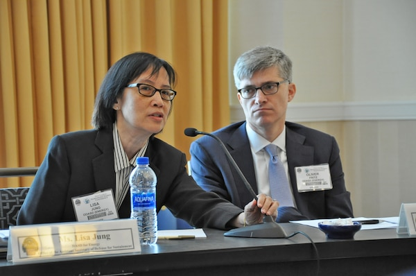 Lisa Jung, Deputy Assistant Secretary of Defense for Energy, answers a question.