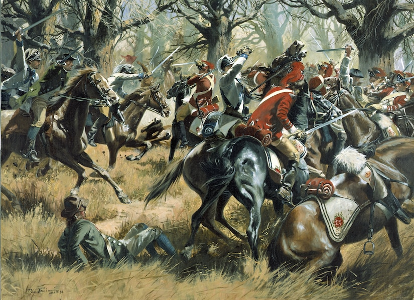 """""""The Battle of Cowpens"""" by Don Troiani is part of the National Guard Bureau Heritage Series. In upland South Carolina, January 17, 1781, at a place where local farmers penned their cows, an American force of 300 Continentals and 700 militia from North and South Carolina, Virginia, and Georgia, won a brilliant victory against the British.  The Continentals who fought at Cowpens are perpetuated today by the 175th Infantry, Maryland Army National Guard, and the 198th Signal Battalion, Delaware Army National Guard, and the Virginia militia by the 116th Infantry, Virginia Army National Guard. The heritage of the rest of the American troops who fought in this """"greatest tactical victory ever won on American soil"""" is carried on today by the Georgia, South Carolina and North Carolina Army National Guards.   The National Guard Heritage Paintings are a series of original oil paintings commissioned by the National Guard Bureau to depict significant moments in the history of the National Guard and its ancestor units to inspire present-day National Guard Soldiers and Airmen.  (Photo Courtesy of the National Guard Bureau)"""