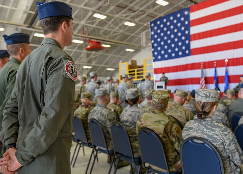 Airmen stand in formation June 2, 2019, during the 378th Fighter Squadron change of command ceremony at the 115th Fighter Wing in Madison, Wisconsin. Lt. Col. Scott Johnson came to Truax from the U.S. Embassy in Copenhagen, Denmark to take the position of Lt. Col. Matthew Brockhaus, the 378th FS outgoing commander, who is transitioning to the Wisconsin Air National Guard to continue his service with the 115th FW. (U.S. Air National Guard photo by Airman 1st Class Cameron Lewis)