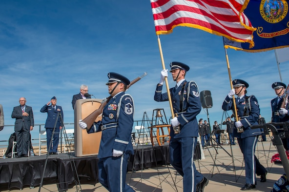 Members of the 124th Fighter Wing Honor Guard present colors to open the Memorial Day Ceremony at Idaho State Veterans Cemetery, Boise, Idaho, May 27, 2019. The ceremony was held to honor and remember all those who died serving in defense of our Nation, as well as those who served and those who are still serving in the armed forces. (U.S. Air National Guard photo by Ryan White)