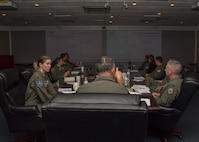 Brig. Gen. Christopher Short, Aircrew Crisis Task Force director, speaks to 49th Wing leadership concerning pilot retention, June 18, 2019, on Holloman Air Force Base, N.M. Totel force pilots were approximately 2,000 members short at the end of 2018, Short asked for feedback on retaining pilots. (U.S. Air Force photo by Airman 1st Class Autumn Vogt)