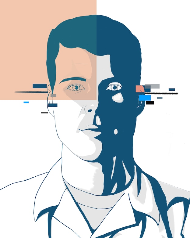 This digital art piece was created as a digital portrait for Senior Airman Maxwell Lehmann, computer systems programmer for the Kessel Run Program at Hanscom Air Force Base, Mass. Lehmann was originally a specialist for the 2nd Contracting Squadron at Barksdale and has recently been converted to a computer systems programmer. (U.S. Air Force graphic by Airman 1st Class Lillian Miller)