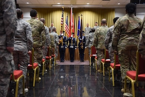The 39th Air Base Wing Honor Guard posts the American flag during the 39th Medical Support Squadron change of command ceremony June 13, 2019, at Incirlik Air Base, Turkey. The posting of the U.S. and Turkish flags happens during every official function on the base and begins with the singing of the U.S. and Turkish National anthems. (U.S. Air Force photo by Matthew J. Wisher)