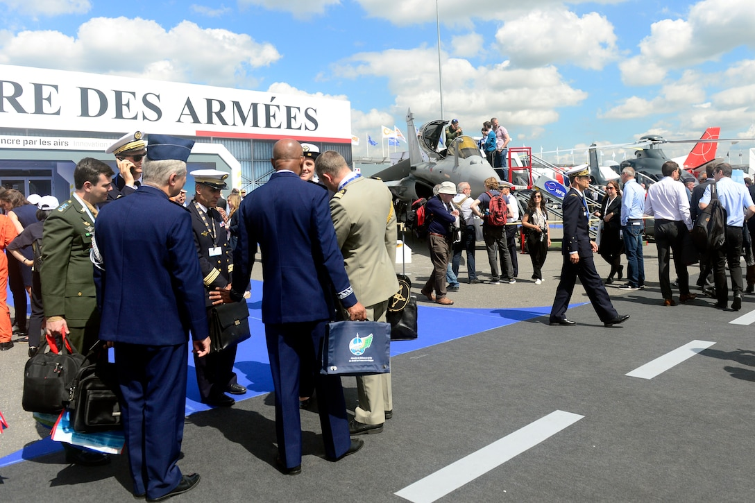 Paris Air Show visitors observe French Armed Forces static displays June 17, 2019.