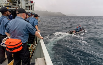Members of HMCS Goose Bay conducts a 'Man Overboard Exercise' with Caribbean partner nations.