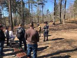 Members of U.S. Army Central's Strategic Plans division (G5) listen to the Park Rangers discuss the tactical value of the musket and rifle at Kings Mountain National Military Park, S.C., March 27, 2019.  The battle of Kings Mountain, October 7, 1780, was an important American victory during the Revolutionary War, as the first major patriot victory to occur after the British invasion of Charleston, SC in May 1780.