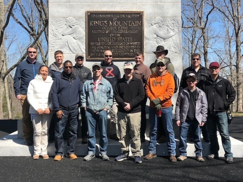 Members of U.S. Army Central's Strategic Plans division (G5) pose for a group photo at Kings Mountain National Military Park, S.C., March 27, 2019.  The battle of Kings Mountain, October 7, 1780, was an important American victory during the Revolutionary War, as the first major patriot victory to occur after the British invasion of Charleston, SC in May 1780.
