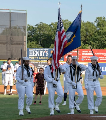 Navy Information Operations Command Texas presents the colors during a San Antonio Missions baseball game in honor of military appreciation night June 12.