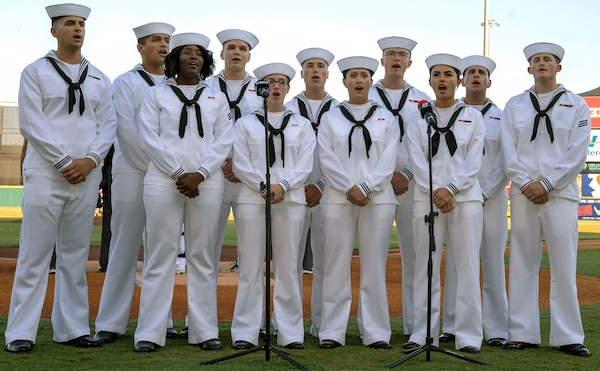 The Navy Medicine Training Support Command, or NMTSC, student choir performed the national anthem during a San Antonio Missions baseball game in honor of military appreciation night June 12.