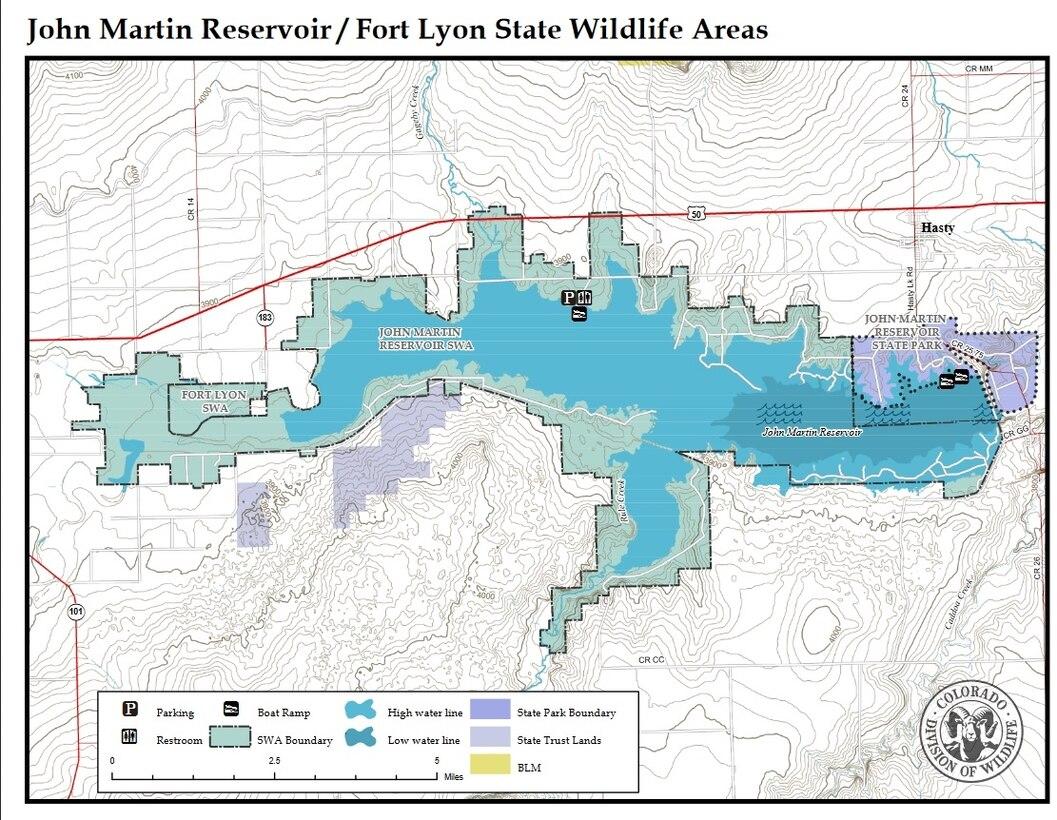 Map of John Martin Reservoir/ Fort Lyon State Wildlife Areas