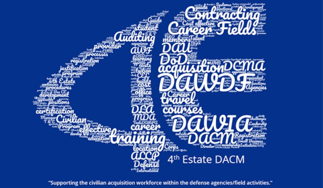 The 4th Estate logo created out of tiny words depicting the DACM office's core functions.