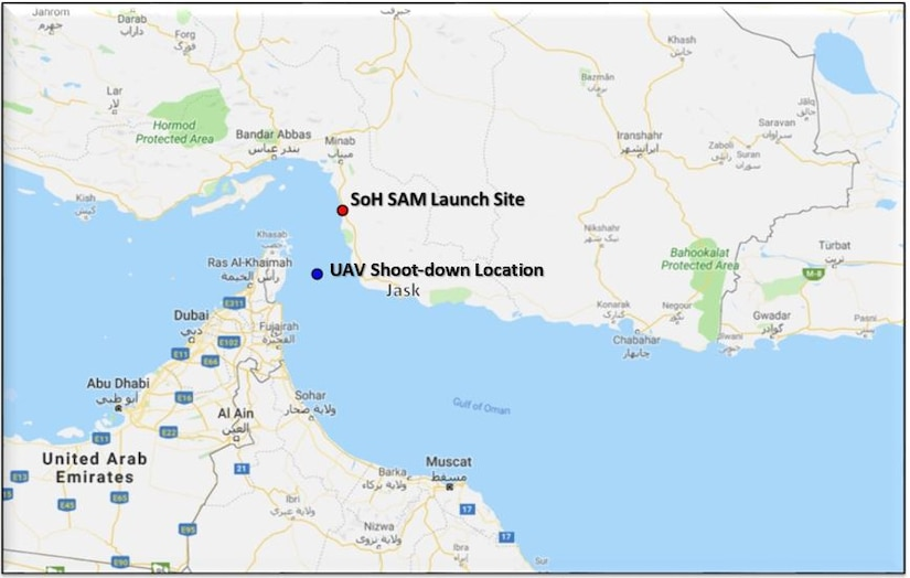 A map showing location of UAV shootdown over Strait of Hormuz.