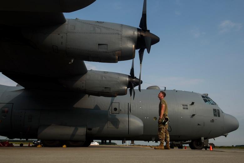 An Airman inspects an EC-130H