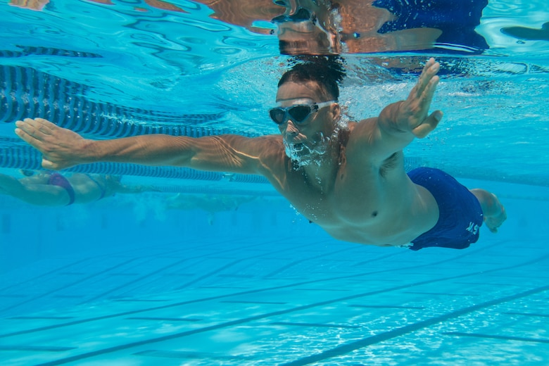 Airman swims in preparation for the 2019 Department of Defense Warrior Games