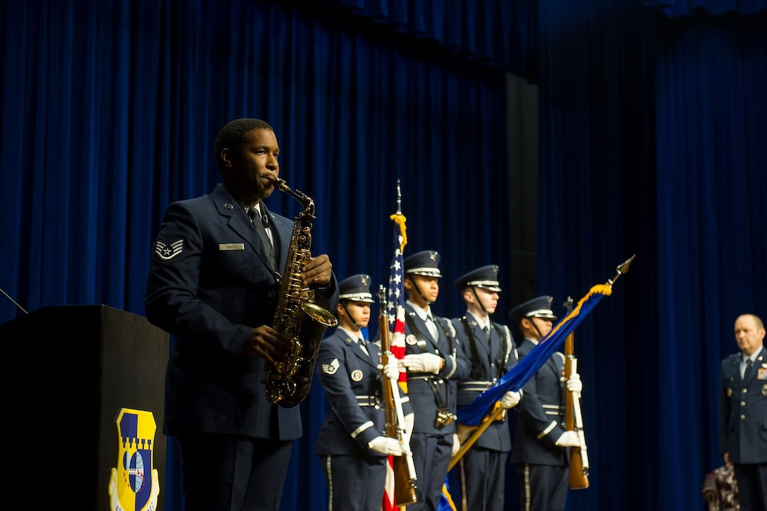 The 45th Space Wing Honor Guard presents the colors as the National Anthem is played at the 45th Mission Support Group change of command ceremony on June 17, 2019, at Patrick Air Force Base, Fla. Col. Edward Marshall assumed command of the 45th MSG from Col. Kevin Williams. (U.S. Air Force photo by Jared Trimarchi)
