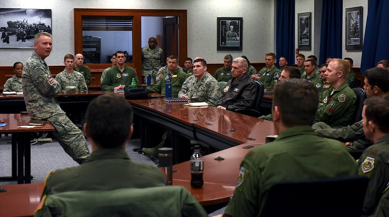180409-N-VL575-038 NEWPORT, R.I. (April 9, 2018) Air Force Maj. Gen. James A. Jacobson, commander, Air Force District of Washington, visits with Air Force students, staff and faculty assigned to U.S. Naval War College. During his visit, Jacobson met with Air Force personnel to discuss current events as well as answer questions.  (U.S. Navy photo by Caitlin Blanchard/released)