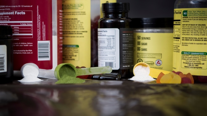 In a 2018 study, the Council for Responsible Nutrition found that 68 percent of Americans take dietary supplements. The 49th Wing health promotions coordinator and staff judge advocate office encourage all Department of Defense employees and their dependents to make educated choices regarding their supplement usage, in accordance with the DoD's Operation Supplement Safety educational campaign. OPSS provides information regarding banned supplement ingredients, high-risk supplements and supplement brands, and provides free resources for making educated decisions regarding supplement consumption. (U.S. Air Force photo illustration by Staff Sgt. BreeAnn Sachs)