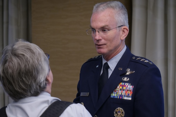 Air Force Gen. Paul Selva, vice chairman of the Joint Chiefs of Staff, speaks with a reporter at the Defense Writers Group roundtable in Washington, June 18, 2019.