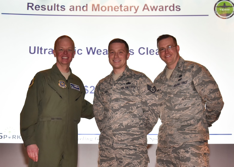 Col. Derek Salmi, Staff Sgt. Kristofer Ballard and 2nd Lt. Phil Samples pose for a photo.