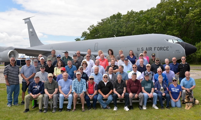 Retired U.S. airmen from the 157th Air Refueling Wing gather for a group photo at the static KC-135 Stratotanker during Retiree Day at Pease Air National Guard Base, N.H. June 14, 2019. Retiree Day is an annual event held to honor retirees from past generations, as well as giveing them the opportunity to interact with airmen currently stationed at Pease.(N.H. Air National Guard photo by Staff Sgt. Timothy Hayden)