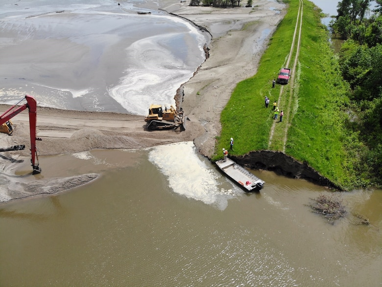 The U.S. Army Corps of Engineers, Omaha District completes an initial breach closure on levee L575 near Percival, IA June 20, 2019.