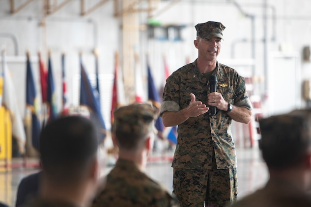 U.S. Marine Corps Col. David Steele, commanding officer of Marine Corps Air Station Futenma (MCAS), delivers a speech during a change of command ceremony June 21, 2019 at MCAS. The change of command ceremony was held in honor of U.S. Marine Corps Lt. Col. Brian Ashford relinquishing his duties as commanding officer of Headquarters and Headquarters Squadron, Marine Corps Installations Pacific, to Lt. Col. Eric Starr. (U.S. Marine Corps photo by Lance Cpl. Savannah Mesimer)