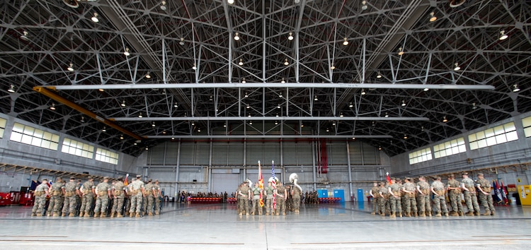 Headquarters and Headquarters Squadron (H&HS), Marine Corps Installations Pacific (MCIPAC), hosts a change of command ceremony June 21, 2019 at Marine Corps Air Station Futenma, Okinawa, Japan. The ceremony was held in honor of U.S. Marine Corps Lt. Col Brian Ashford relinquishing his duties as commanding officer of H&HS, MCIPAC, to Lt. Col. Eric Starr. (U.S. Marine Corps photo by Lance Cpl. Savannah Mesimer)