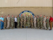 """Combined Joint Task Force (CJTF) """"Operation Inherent Resolve"""" (OIR) Financial Management Team (CJ8), stationed at Camp Arifjan, Kuwait.  The 2018-2019 OIR HQs is largely sourced by the 18th Airborne Corps HQs from Fort Bragg, NC.   The current CJ8 team, led by Colonel Chip Kirby, Director, CJ8 and Master Sergeant George Gamble arrived in Kuwait September 15, 2018.   (Photo: Courtesy CJTF Public Affairs)"""