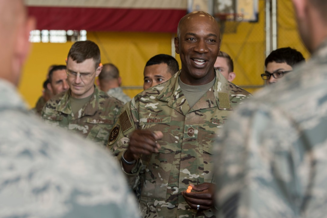Chief Master Sergeant of the Air Force Kaleth O. Wright speaks to Airmen during his visit at the Red Flag-Alaska building, Joint Base Elmendorf-Richardson, Alaska, June 10, 2019. Chief Wright visited JBER during Red Flag-Alaska to meet with senior enlisted leader counterparts from throughout the Pacific. Red Flag-Alaska is a Pacific Air Forces-directed exercise that allows U.S. forces to train with coalition partners in a simulated environment. (U.S. Air Force photo by Airman 1st Class Caitlin Russell)
