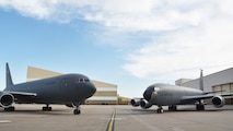 Past greets future.  A KC-46A Pegasus and KC-135 Stratotanker face each on Team McConnell's flightline, June 17, 2019, McConnell Air Force Base, Kan.  Team McConnell continues to lead the way with the introduction and implementation of the Air Force's newest major weapons system, the KC-46.