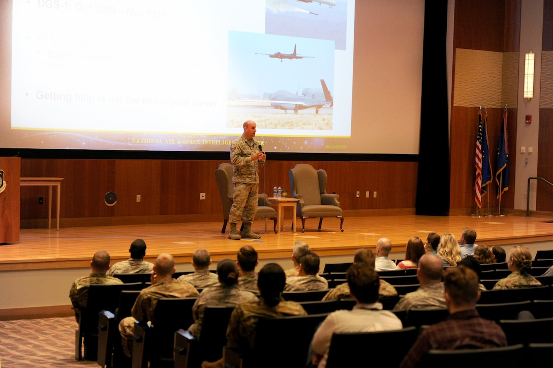 Staff Sgt. Conrad Crookston from the National Air and Space Intelligence Center shares his story during NASIC Storytellers event on Strength and Courage on June 19 in the Center's Intelligence Production Complex facility at Wright-Patterson Air Force Base, Ohio. The Storytellers event was put on by R3 in line with commander's objectives of educating the workforce and elevate respect, resilience and readiness across NASIC. (U.S. Air Force photo by Senior Airman Samuel Earick)