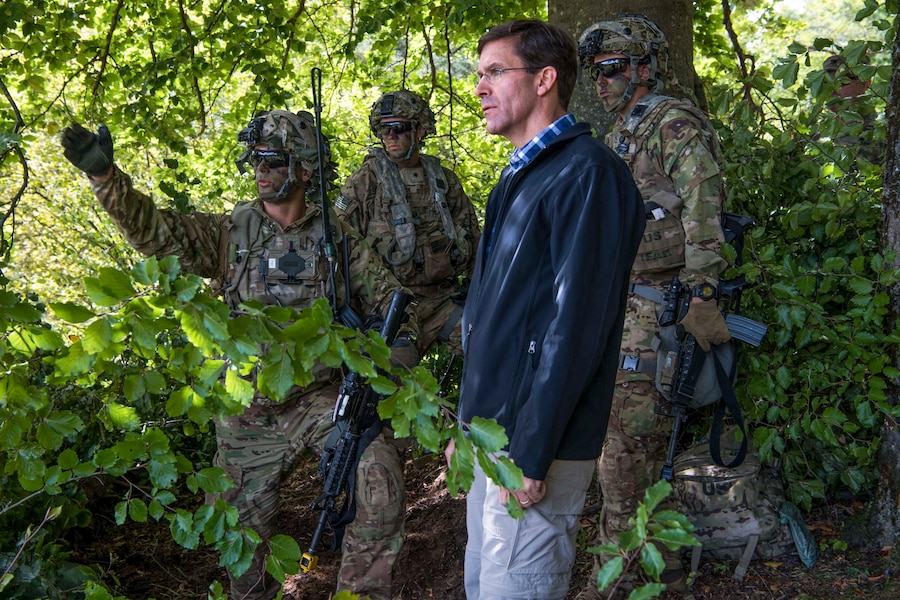 Army Secretary Dr. Mark T. Esper visits with soldiers at the Joint Multinational Readiness Training in Hohenfels, Germany, Sept. 22, 2018.