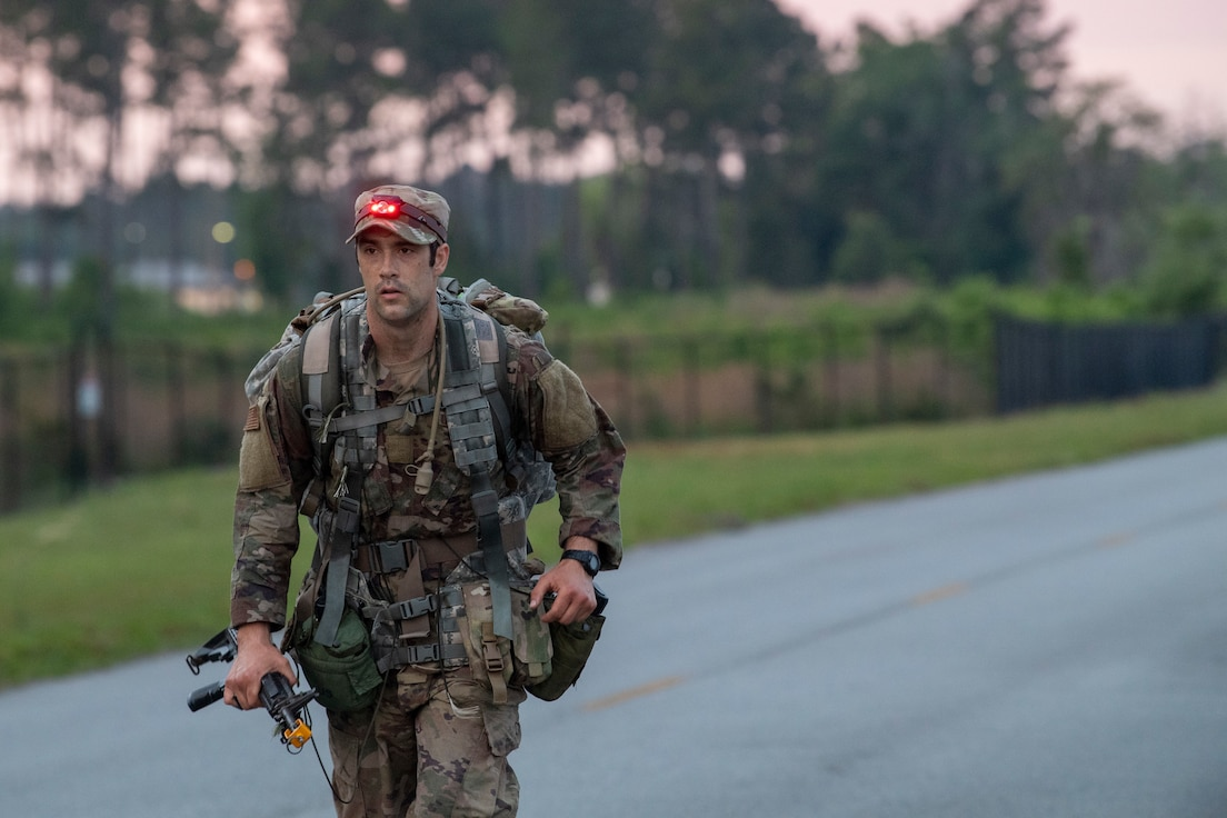 2nd Lt. Austin Hoover, a Pre-Ranger Assessment Course student from the 820th Combat Operations Squadron, completes a 12-mile ruck march at Moody Air Force Base, Ga., April 24, 2019. The ruck march was particularly difficult because the students had very little sleep or food in the days leading up to it, like they would at Army Ranger School. (U.S. Air Force photo by 1st. Lt. Faith Brodkorb)