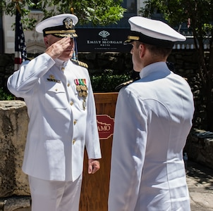Cmdr. Nicholas Gamiz (right) assumes command of Navy Recruiting District San Antonio during a change of command ceremony at the Alamo June 7. Gamiz, a Naval aviator, will be responsible for 217 Sailors and support personnel supporting 34 Navy Recruiting Stations and Navy Officer Recruiting Stations spread throughout 144,000 square miles of Texas territory.