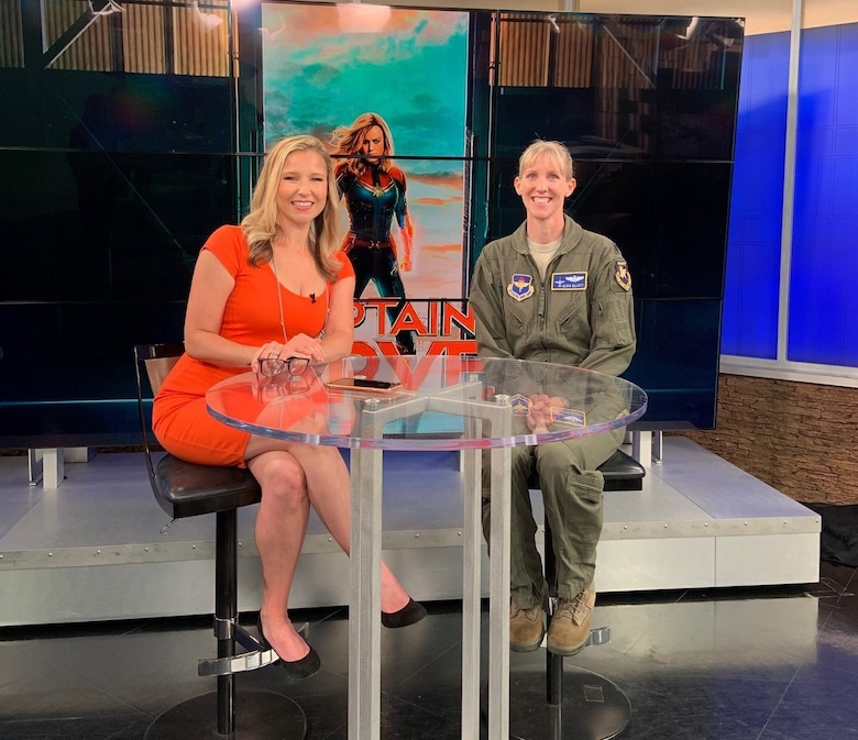 Lt. Col. Olivia Elliott, visited news station Fox 19 to talk about her career as an Air Force pilot to news anchor Rebecca Smith in Cincinnati, Ohio on June 11.As part of the DVD and digital release of the Captain Marvel movie, Elliott had the opportunity to share her experiences as a pilot. (U.S. Air Force photo/Stacey Geiger)