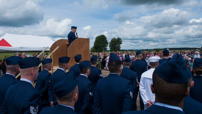 U.S. Air Force Col. Patrick Winstead, the 437th Airlift Wing vice wing commander, delivers a speech at the Royal Air Force Ramsbury Airfield Remembrance ceremony, June 9, 2019, at Ramsbury Airfield, U.K. Service members from Joint Base Charleston, S.C., gathered with veterans, the RAF, and the public for the final ceremony. The final stage of this Airfield Remembrance Project coincides with the 75th anniversary of D-Day. The ceremonial event was held to honor the sacrifices and strengthen the bond between the U.S. and U.K.