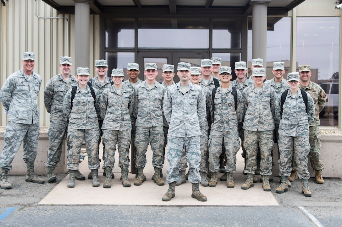 Reserve Officer Training Corps cadets pose for a group photo during the 2019 Space Cadre Program for ROTC cadets June 17, 2019, at Vandenberg Air Force Base, Calif.  The program allows select ROTC cadets to visit specific Air Force Space Command installations to get immersed in the command, learn about the base's specific mission, attend mission briefings, get senior leadership mentorship, and launch and satellite exposure with a focus on leadership and professional development. (U.S. Air Force photo by Airman 1st Class Hanah Abercrombie)