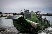 U.S. Marines with the Assault Amphibian School Battalion (AAS Bn.), Training Command, operate an AAV7 Assault Amphibious Vehicle (AAV) during water operations at the Del Mar boat basin on Marine Corps Base Camp Pendleton, California, May 13, 2019.