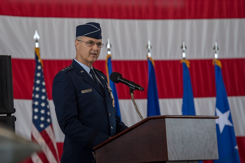 U.S. Air Force Lt. Gen. Scott Williams, outgoing commander, 1st Air Force (Air Forces Northern) and Continental U.S. North American Aerospace Defense Command Region (CONR) speaks during a change of command ceremony at Tyndall Air Force Base, Florida, June 20, 2019.