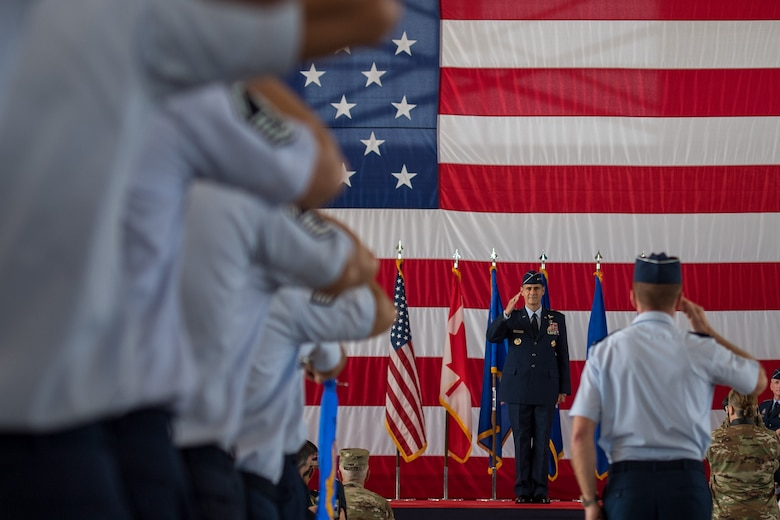 U.S. Air Force Lt. Gen. Marc Sasseville, commander, 1st Air Force (Air Forces Northern) and Continental U.S. North American Aerospace Defense Command Region (CONR) receives the first salute from the formation at Tyndall Air Force Base, Florida, June 20, 2019.