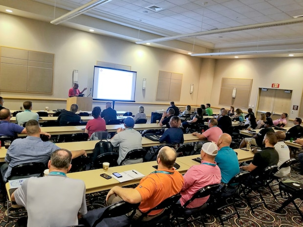 Safety specialists Stacey Williams, Juan Escovar, and TC Mullen from MCLB Albany Risk Management Office delivered a workshop session at the annual Region IV Voluntary Protection Programs Participant's Association (VPPPA) conference in Chattanooga, TN, June 19. They shared safety program best practices with safety professionals in private industry, specifically on techniques to engage employees in mishap prevention, MCLB Albany's command's VPP journey to Star worksite recognition and how to market a safety program. This marks the second straight year where MCLB Albany safety professionals led a workshop session at the Region IV VPPPA conference. (U.S. Marine Corps photo by Ashlyn Marchant)