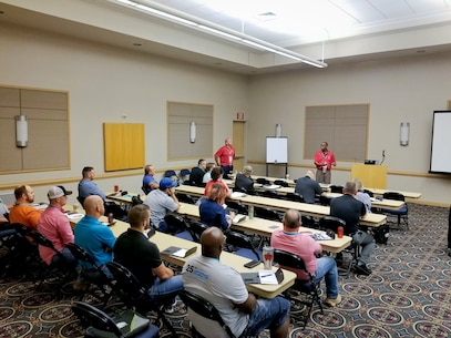 Safety specialists Stacey Williams, Juan Escovar, and TC Mullen from MCLB Albany Risk Management Office delivered a workshop session at the annual Region IV Voluntary Protection Programs Participant's Association (VPPPA) conference in Chattanooga, TN, June 19. They shared safety program best practices with safety professionals in private industry, specifically on techniques to engage employees in mishap prevention, MCLB Albany's command's VPP journey to Star worksite recognition and how to market a safety program. This marks the second straight year where MCLB Albany safety professionals led a workshop session at the Region IV VPPPA conference. (U.S. Marine Corps photo by Merrill Dickinson)