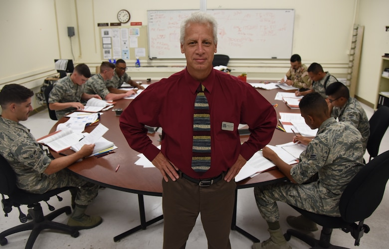 Robert Fried, 334th Training Squadron instructor, poses for a photo inside his classroom at Jones Hall on Keesler Air Force Base, Mississippi, May 28, 2019. Fried was awarded the 2018 Second Air Force Technical Training Instructor Civilian of the Year. (U.S. Air Force photo by Kemberly Groue)